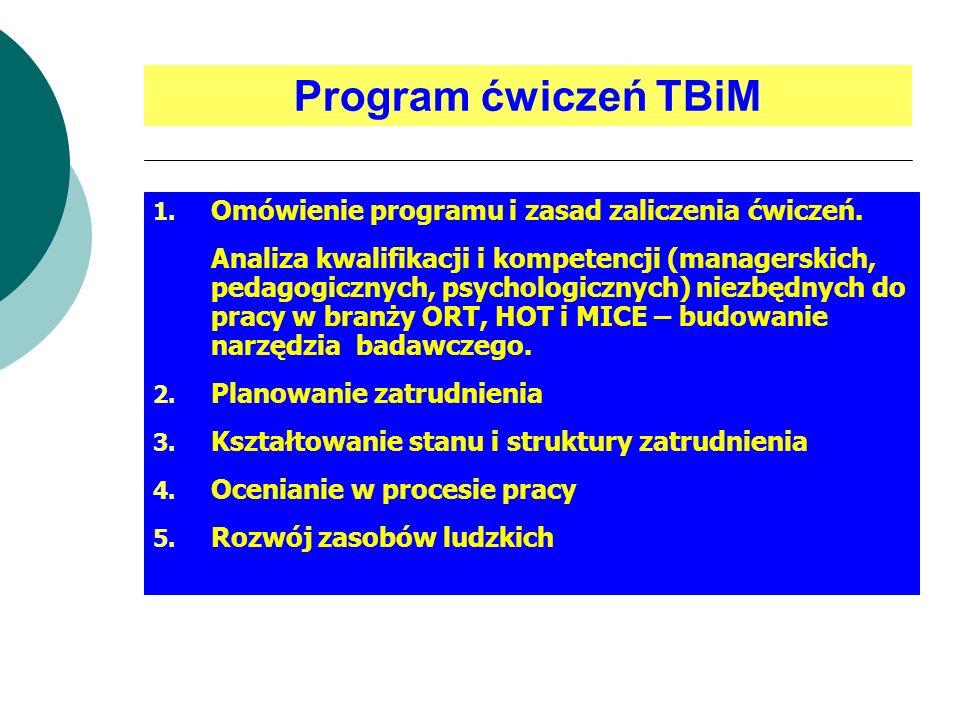 Program ćwiczeń TBiM Omówienie programu i zasad zaliczenia ćwiczeń.