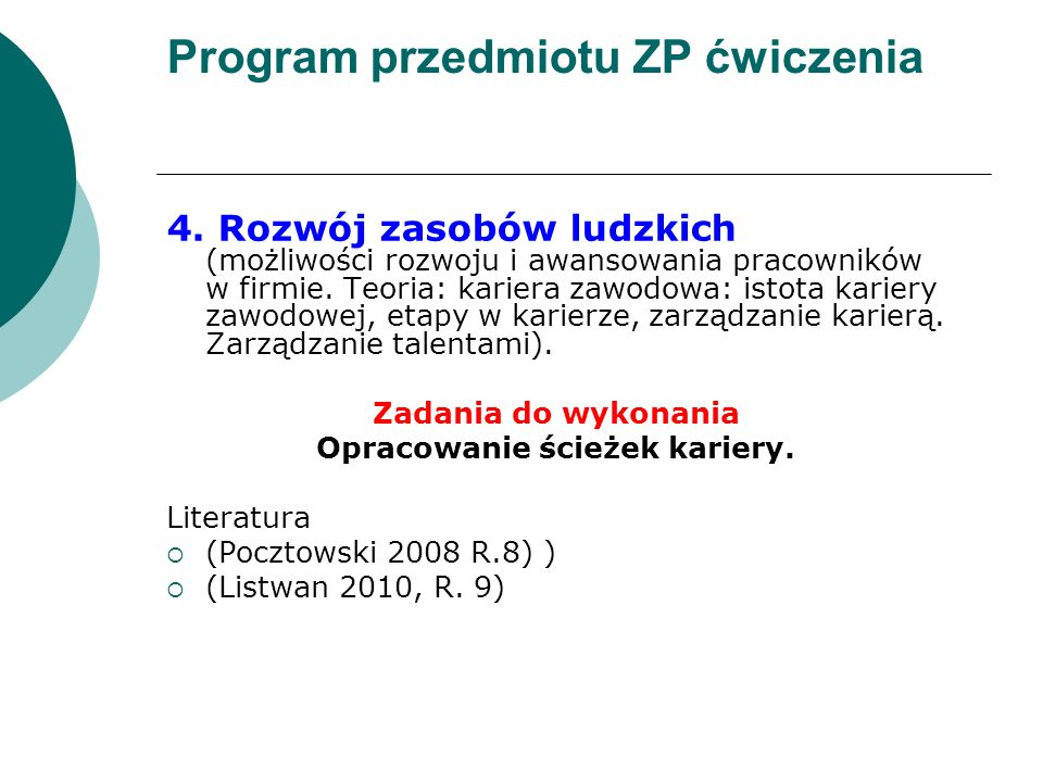 Program przedmiotu ZP ćwiczenia