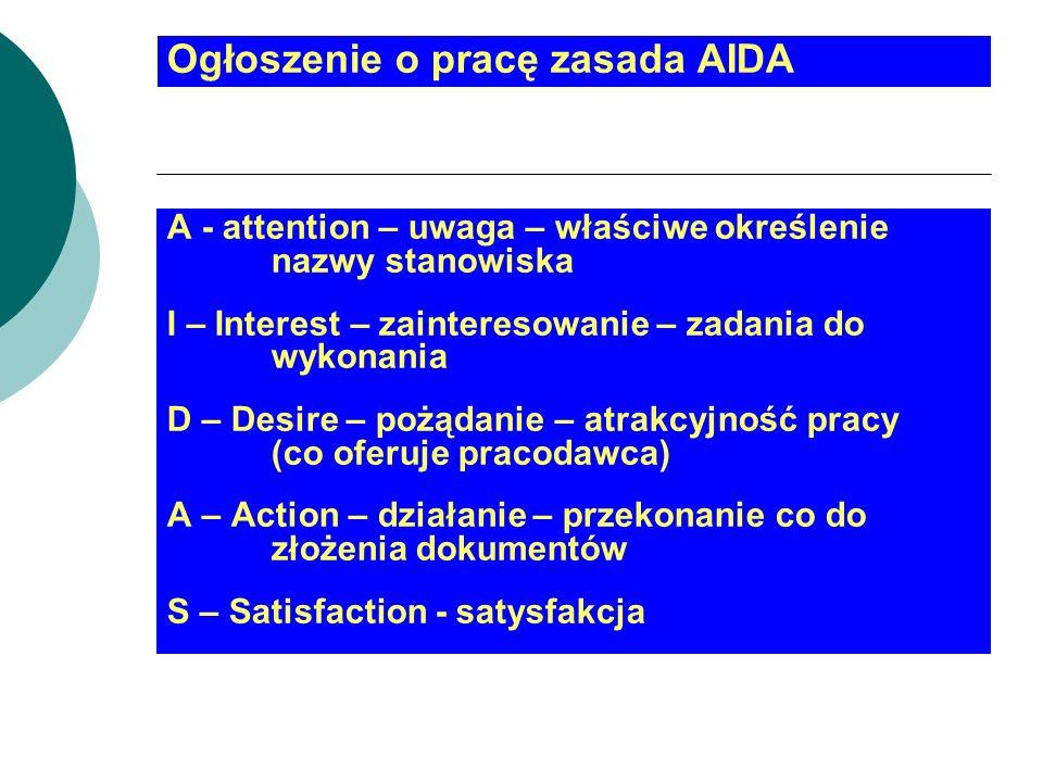 Ogłoszenie o pracę zasada AIDA