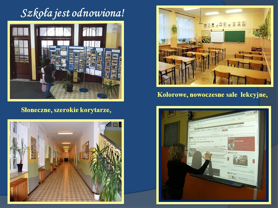 Kolorowe, nowoczesne sale lekcyjne, Słoneczne, szerokie korytarze,