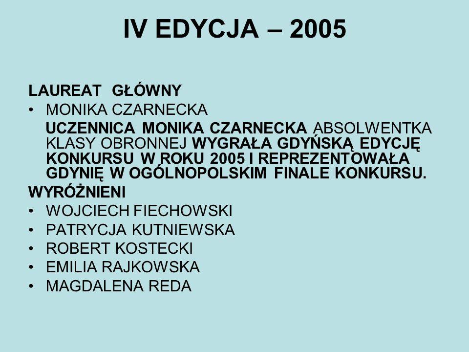 IV EDYCJA – 2005 LAUREAT GŁÓWNY MONIKA CZARNECKA