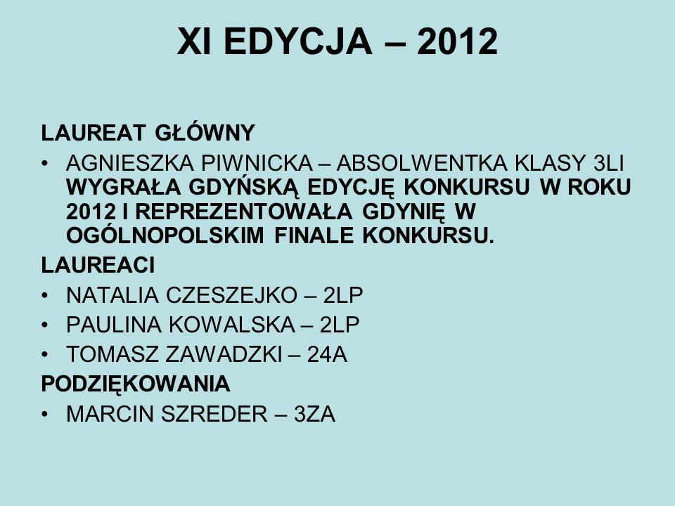 XI EDYCJA – 2012 LAUREAT GŁÓWNY