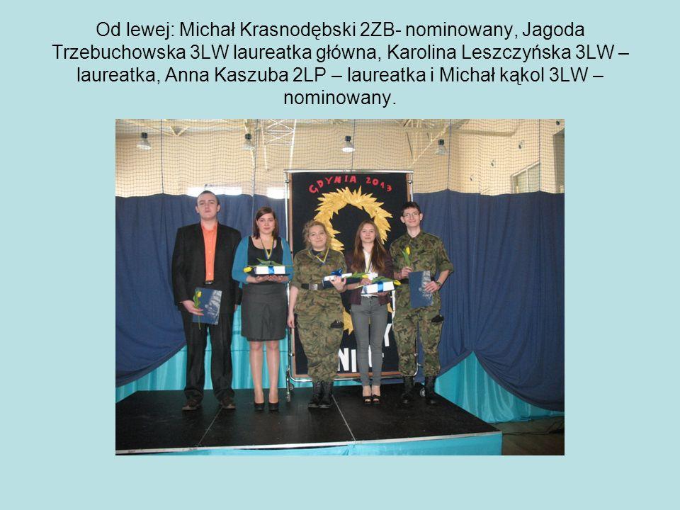 Od lewej: Michał Krasnodębski 2ZB- nominowany, Jagoda Trzebuchowska 3LW laureatka główna, Karolina Leszczyńska 3LW – laureatka, Anna Kaszuba 2LP – laureatka i Michał kąkol 3LW – nominowany.