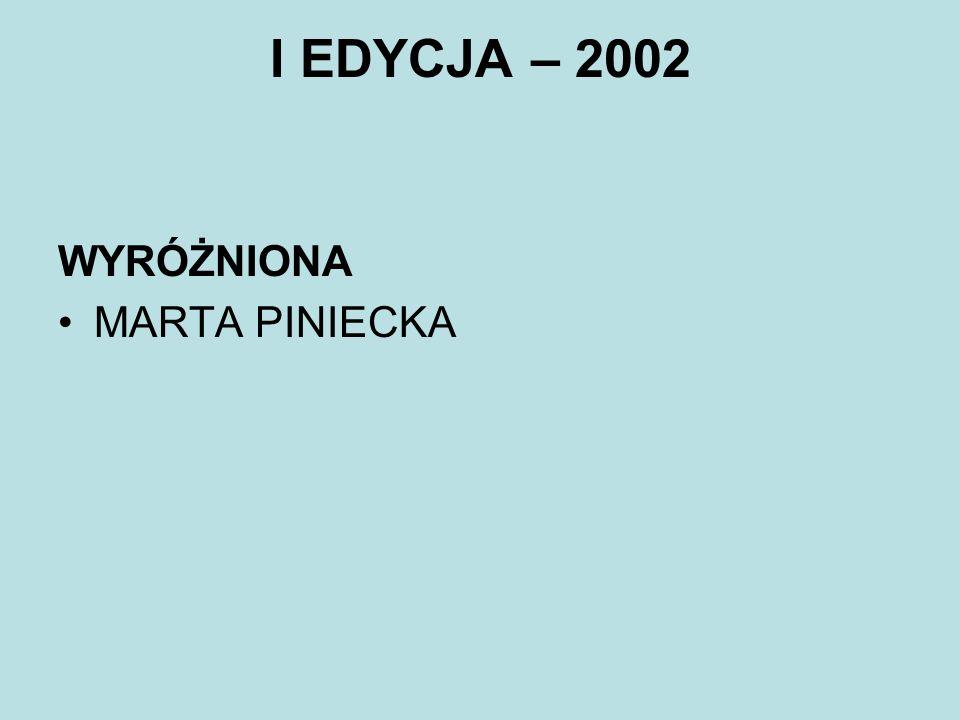 I EDYCJA – 2002 WYRÓŻNIONA MARTA PINIECKA
