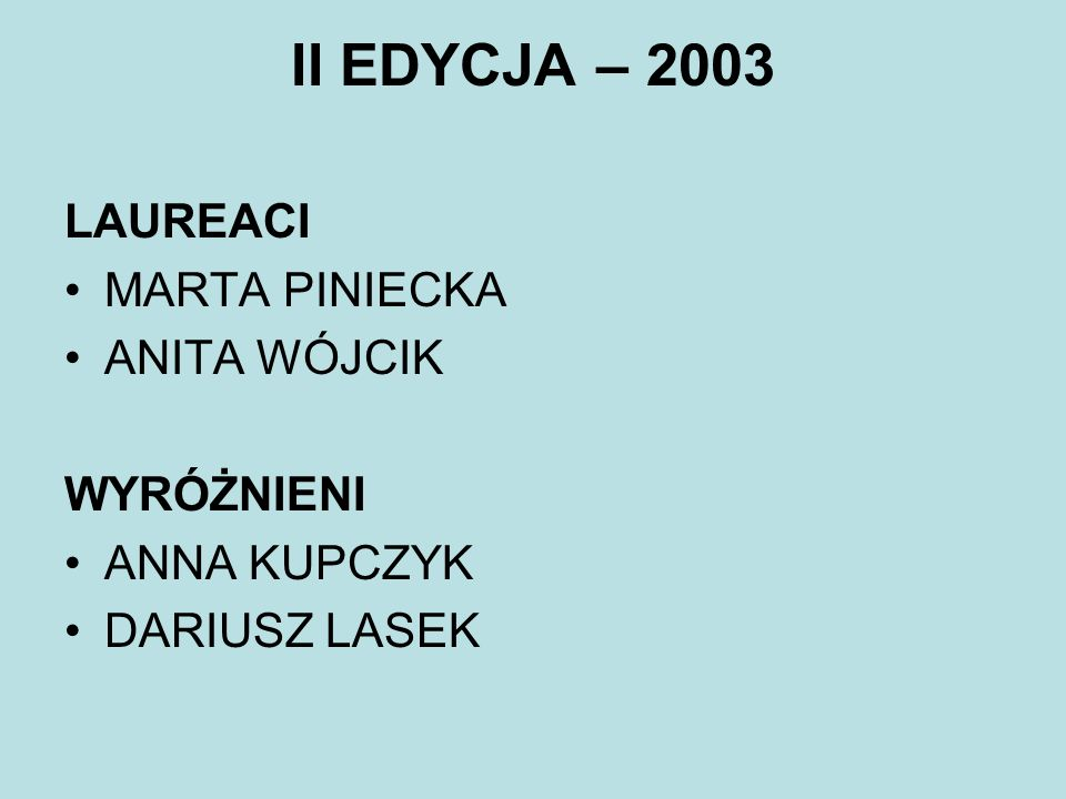 II EDYCJA – 2003 LAUREACI MARTA PINIECKA ANITA WÓJCIK WYRÓŻNIENI