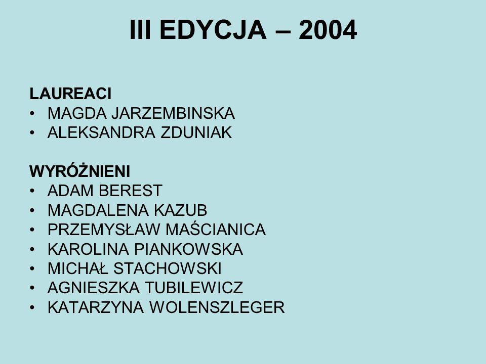 III EDYCJA – 2004 LAUREACI MAGDA JARZEMBINSKA ALEKSANDRA ZDUNIAK
