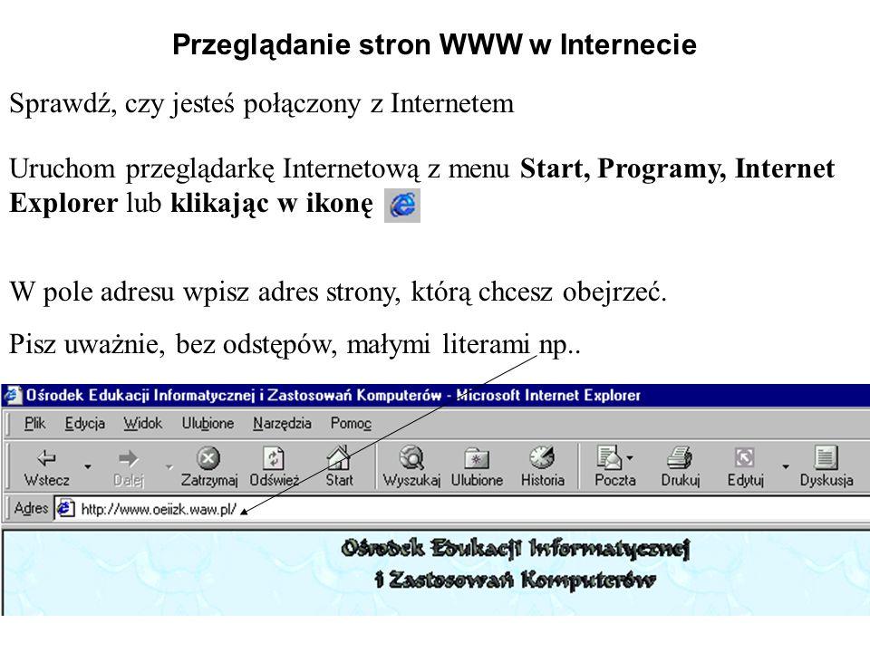 Przeglądanie stron WWW w Internecie