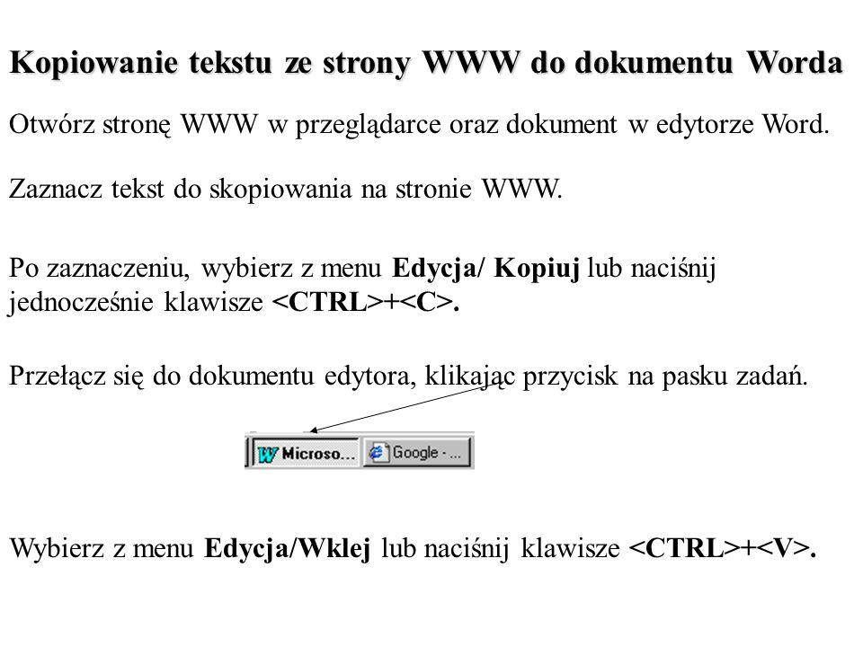 Kopiowanie tekstu ze strony WWW do dokumentu Worda