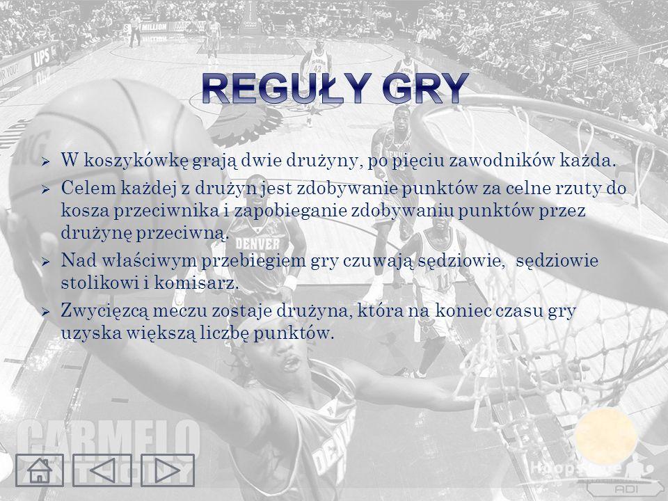 REGUŁY GRY W koszykówkę grają dwie drużyny, po pięciu zawodników każda.
