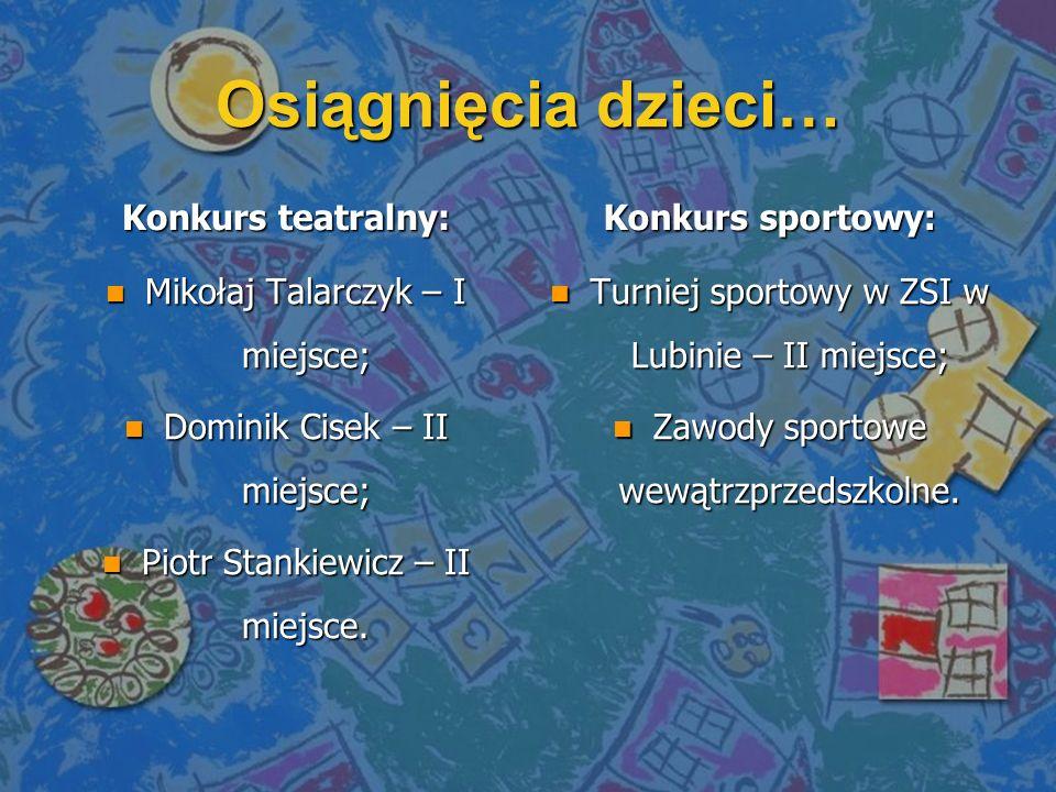 Osiągnięcia dzieci… Konkurs teatralny: Konkurs sportowy:
