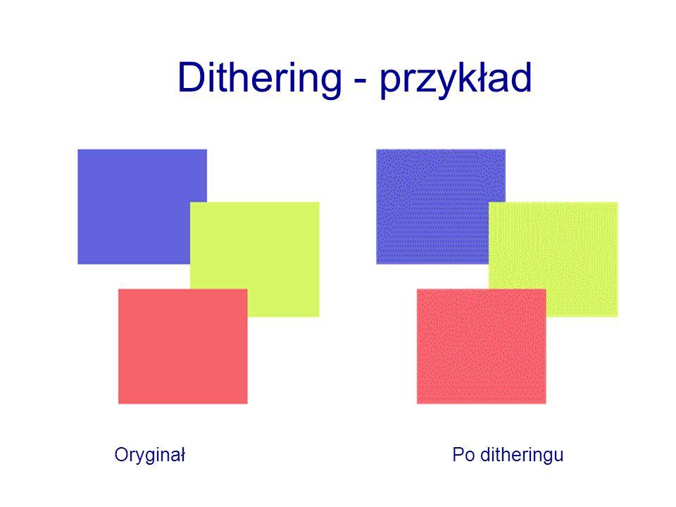 Dithering - przykład Oryginał Po ditheringu