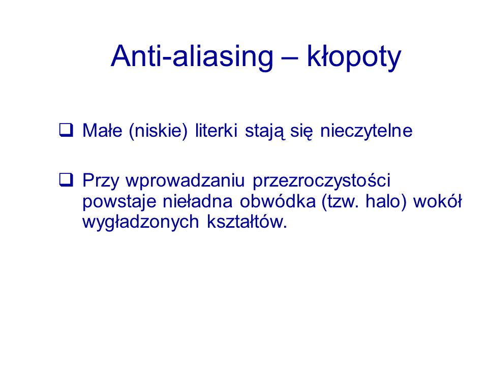 Anti-aliasing – kłopoty