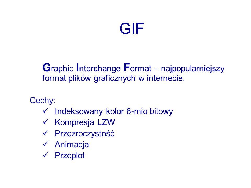 GIF Graphic Interchange Format – najpopularniejszy format plików graficznych w internecie. Cechy: Indeksowany kolor 8-mio bitowy.