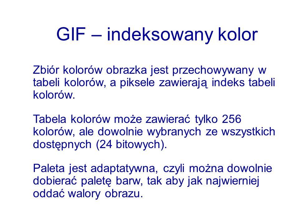 GIF – indeksowany kolor