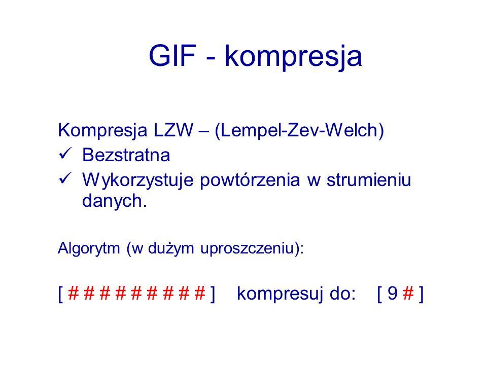 GIF - kompresja Kompresja LZW – (Lempel-Zev-Welch) Bezstratna