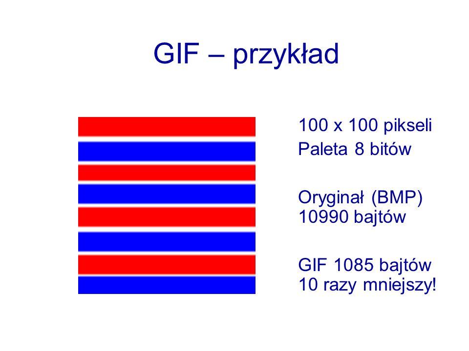 GIF – przykład 100 x 100 pikseli Paleta 8 bitów