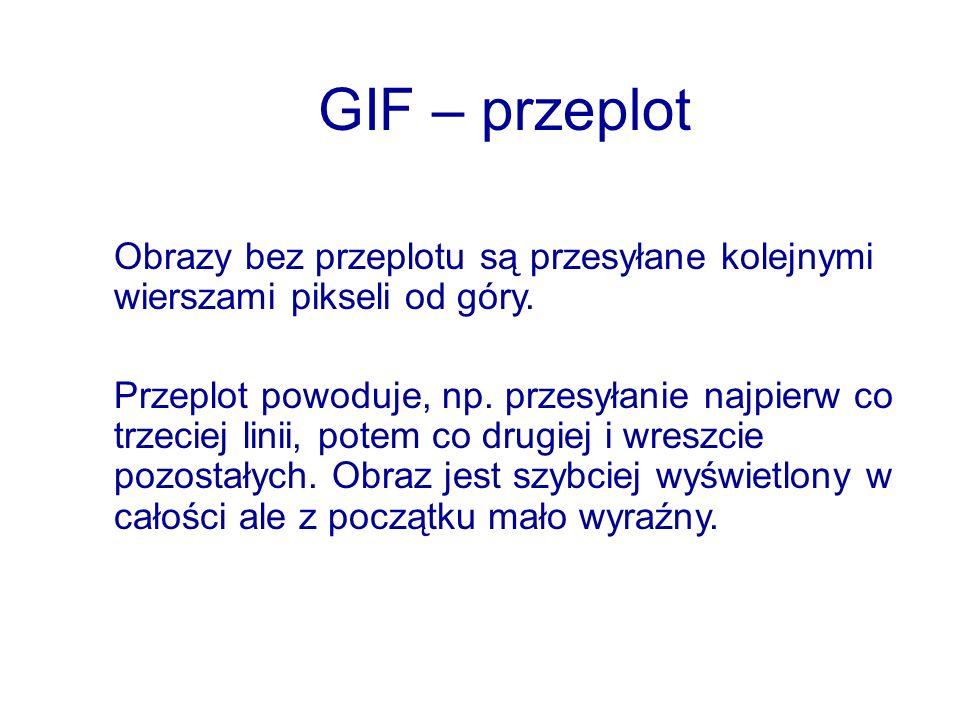 GIF – przeplotObrazy bez przeplotu są przesyłane kolejnymi wierszami pikseli od góry.