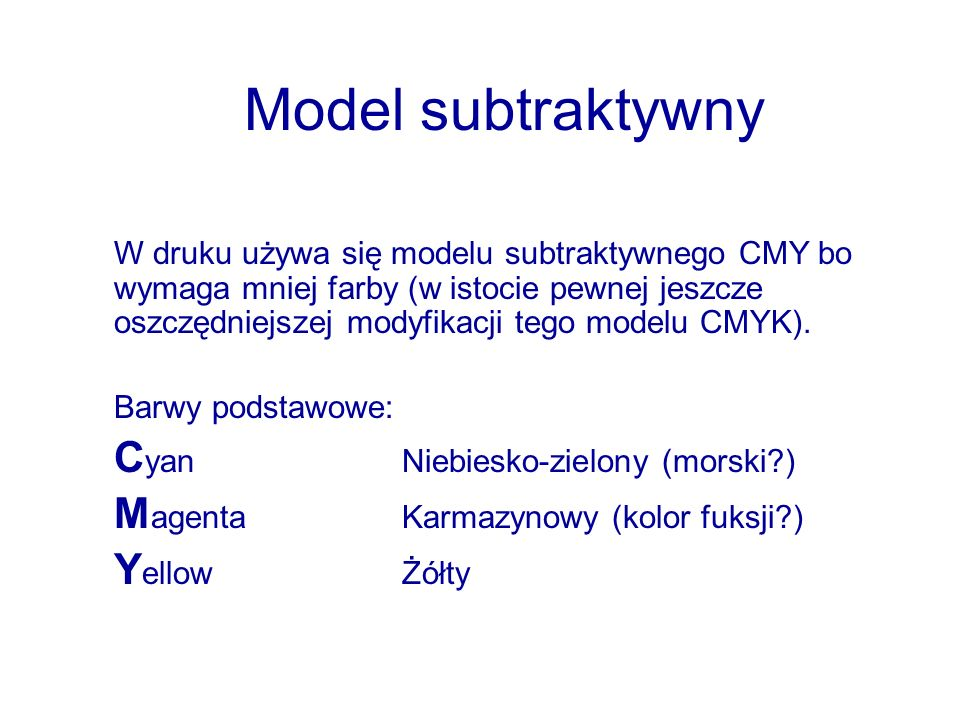 Model subtraktywny Cyan Niebiesko-zielony (morski )