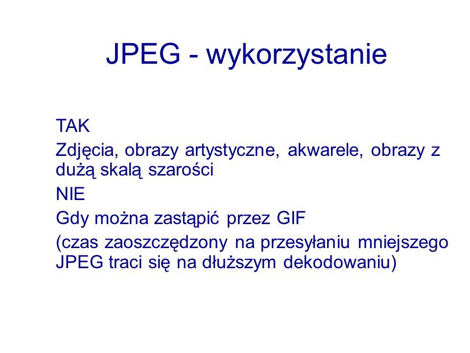 JPEG - wykorzystanie TAK