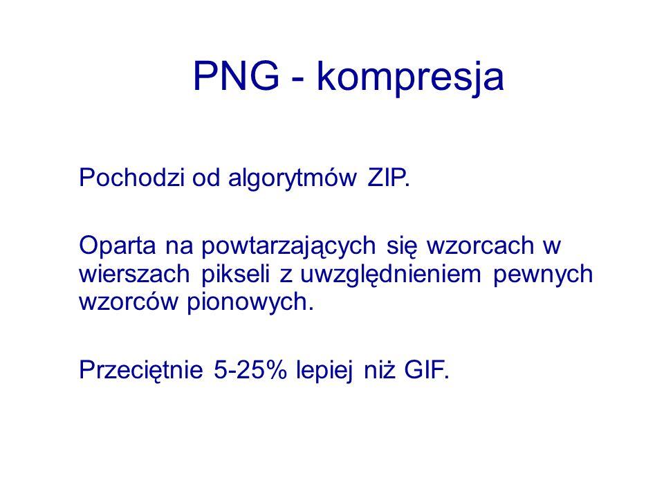 PNG - kompresja Pochodzi od algorytmów ZIP.