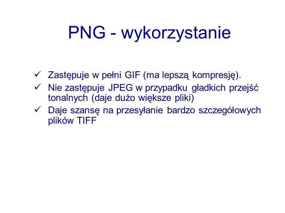 PNG - wykorzystanie Zastępuje w pełni GIF (ma lepszą kompresję).