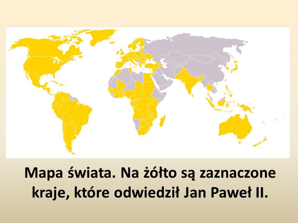 Mapa świata. Na żółto są zaznaczone kraje, które odwiedził Jan Paweł II.