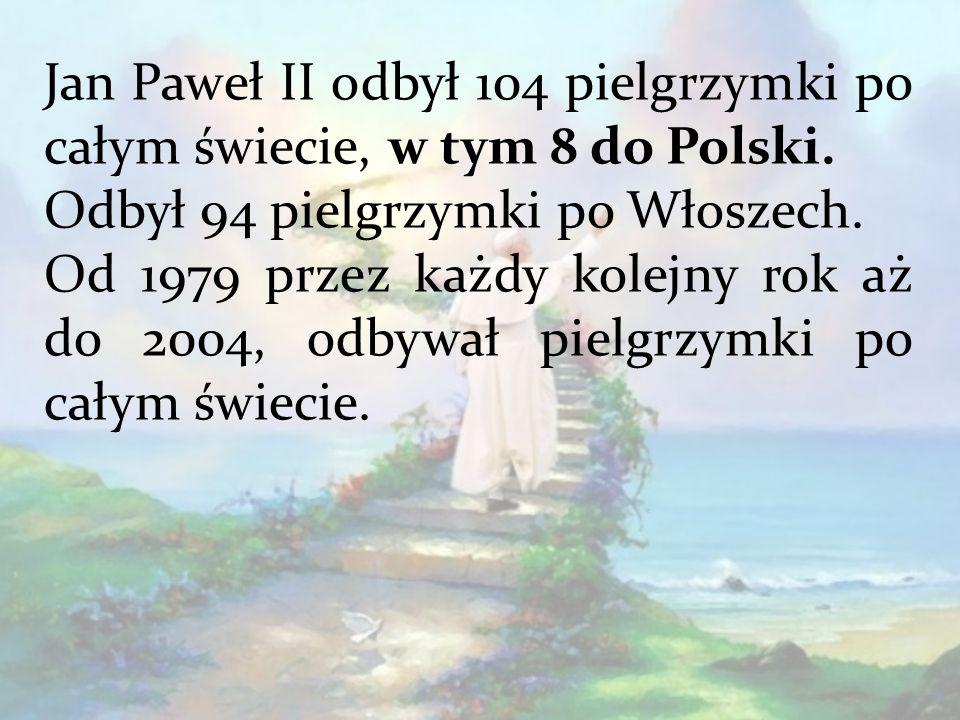 Jan Paweł II odbył 104 pielgrzymki po całym świecie, w tym 8 do Polski.