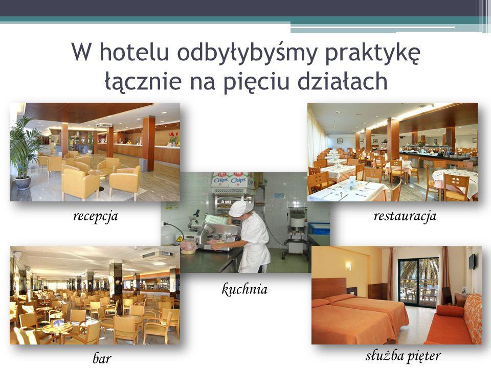 W hotelu odbyłybyśmy praktykę łącznie na pięciu działach