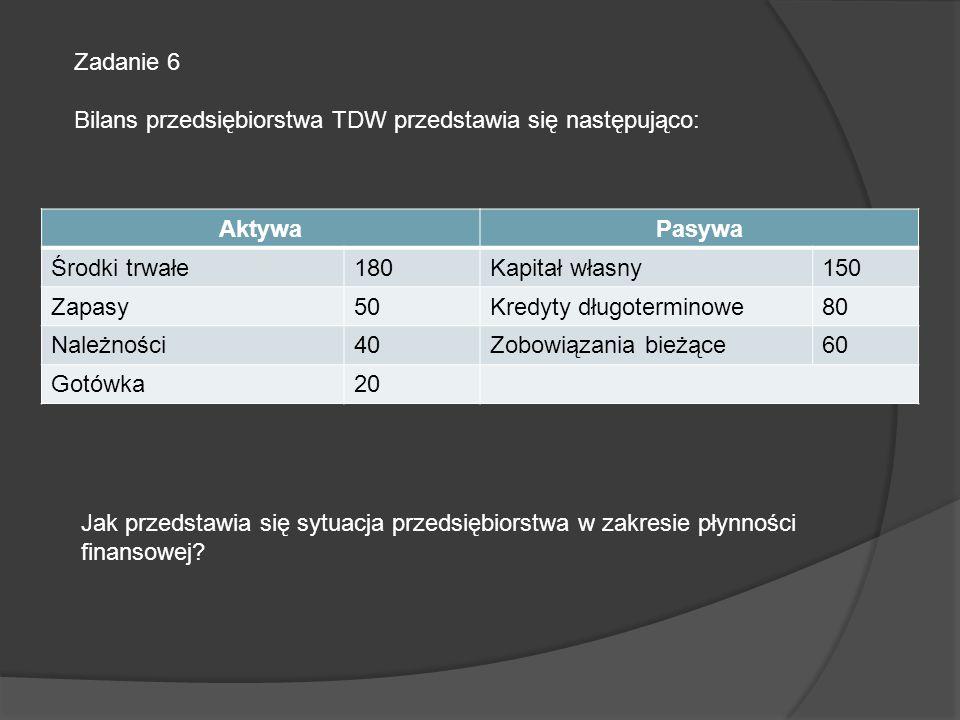 Zadanie 6 Bilans przedsiębiorstwa TDW przedstawia się następująco: Aktywa. Pasywa. Środki trwałe.