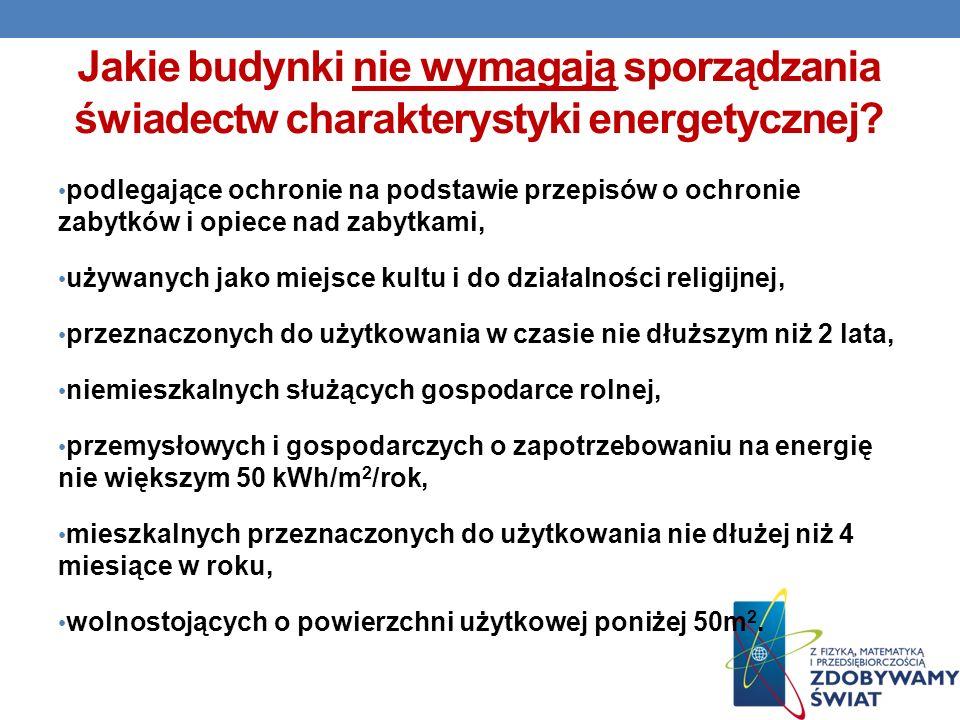 Jakie budynki nie wymagają sporządzania świadectw charakterystyki energetycznej