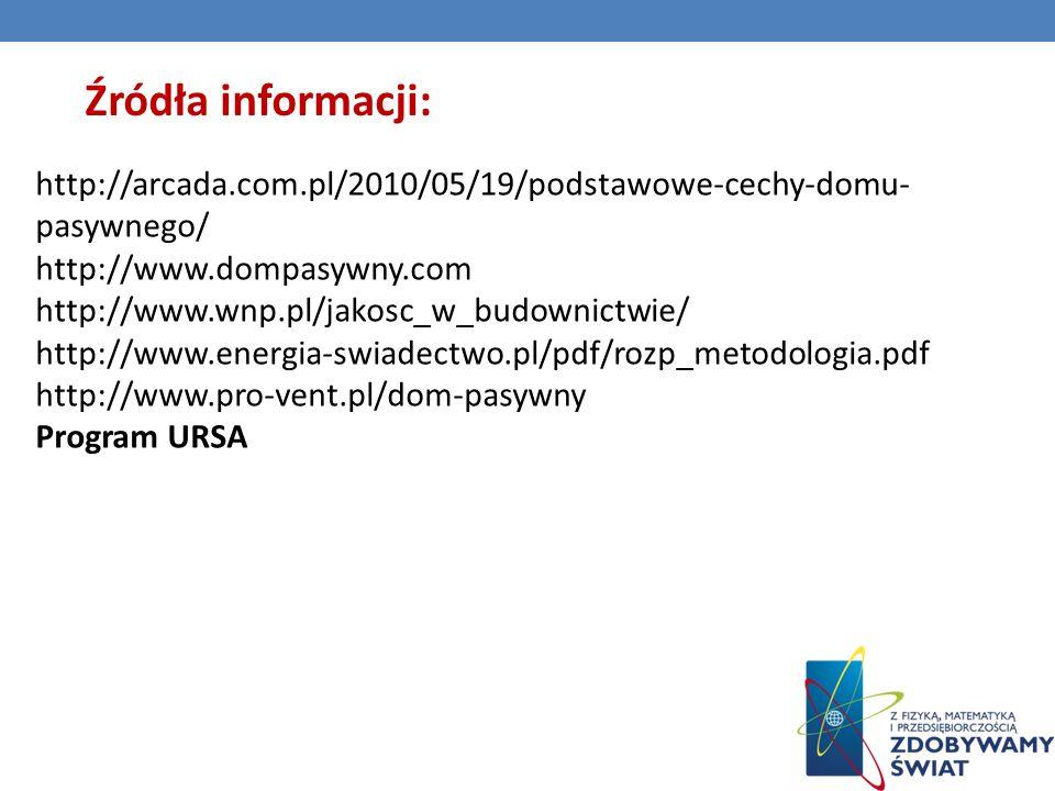 Źródła informacji: http://arcada.com.pl/2010/05/19/podstawowe-cechy-domu-pasywnego/ http://www.dompasywny.com.