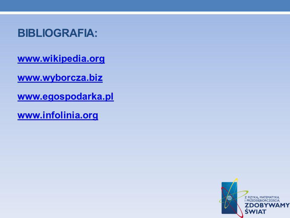 Bibliografia: www.wikipedia.org www.wyborcza.biz www.egospodarka.pl www.infolinia.org