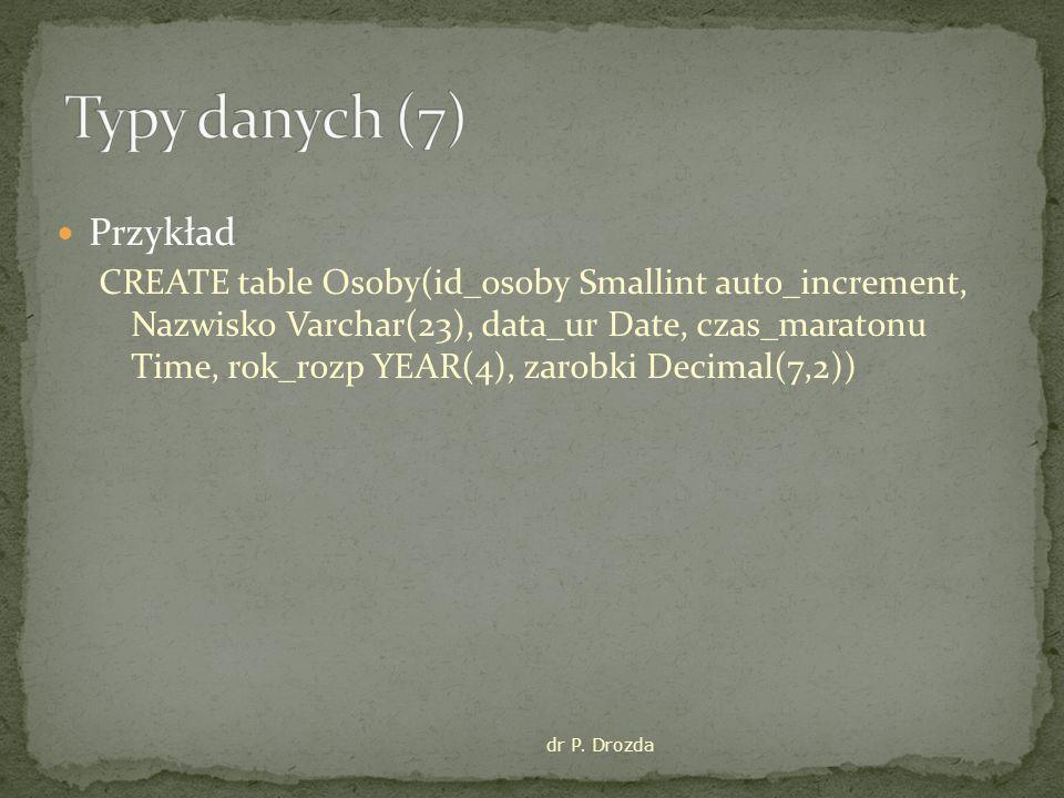 Typy danych (7) Przykład