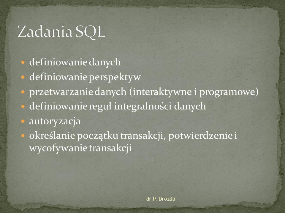 Zadania SQL definiowanie danych definiowanie perspektyw