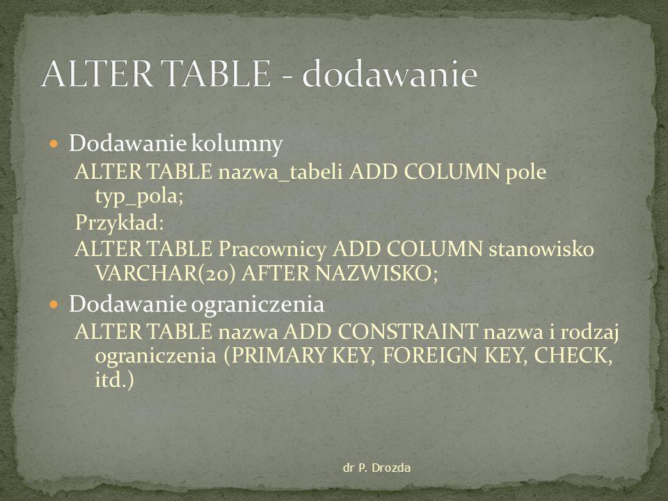 ALTER TABLE - dodawanie