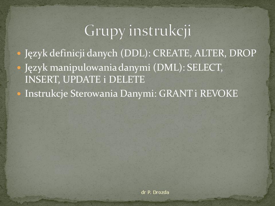 Grupy instrukcji Język definicji danych (DDL): CREATE, ALTER, DROP