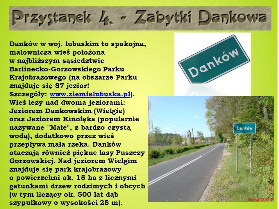 Danków w woj. lubuskim to spokojna, malownicza wieś położona w najbliższym sąsiedztwie Barlinecko-Gorzowskiego Parku Krajobrazowego (na obszarze Parku znajduje się 87 jezior! Szczegóły: www.ziemialubuska.pl).