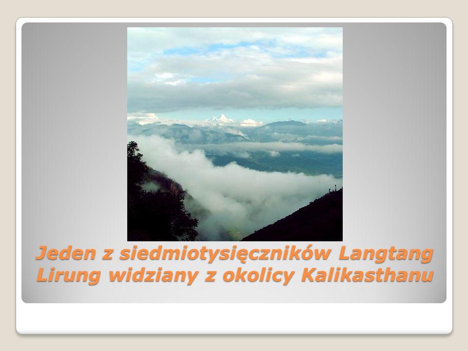 Jeden z siedmiotysięczników Langtang Lirung widziany z okolicy Kalikasthanu