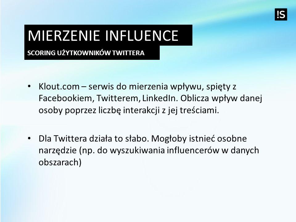 Mierzenie influence Scoring użytkowników twittera.