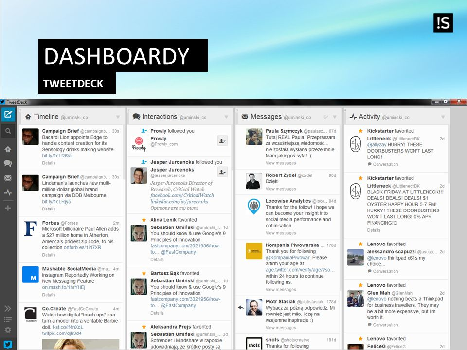 Dashboardy Tweetdeck