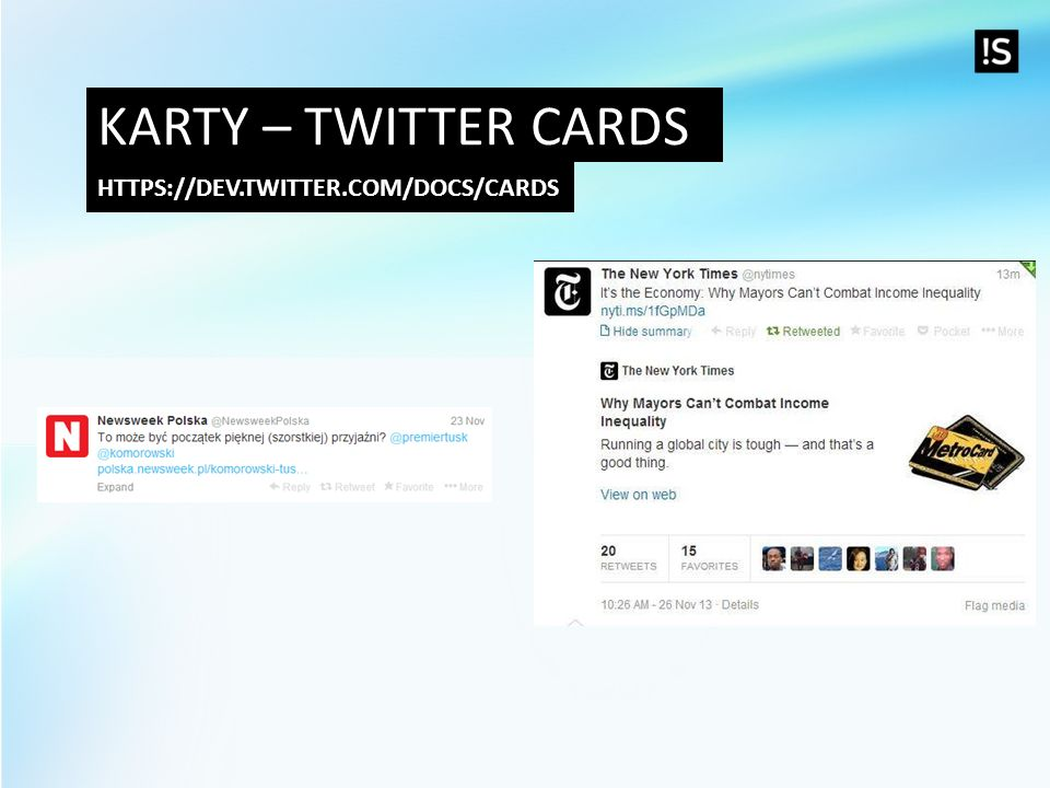 Karty – Twitter cards https://dev.twitter.com/docs/cards