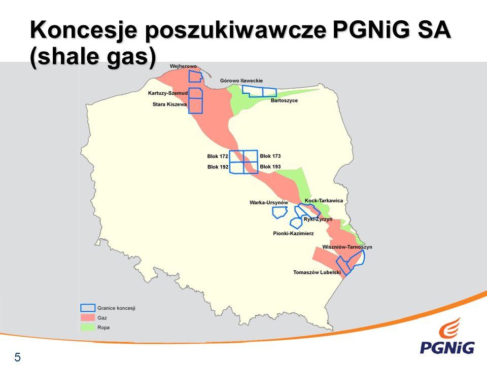 Koncesje poszukiwawcze PGNiG SA (shale gas)