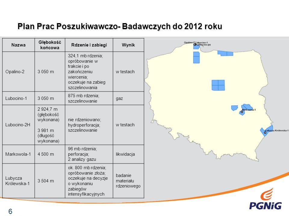 Plan Prac Poszukiwawczo- Badawczych do 2012 roku