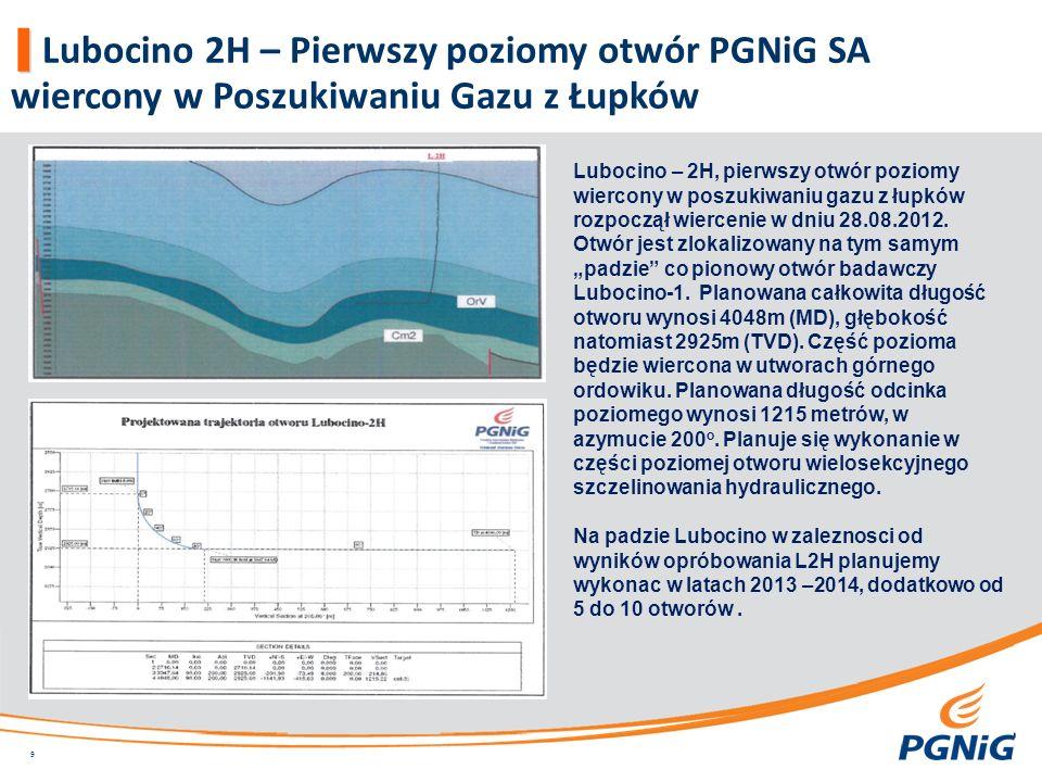 Lubocino 2H – Pierwszy poziomy otwór PGNiG SA wiercony w Poszukiwaniu Gazu z Łupków