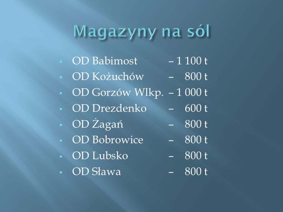 Magazyny na sól OD Babimost – 1 100 t OD Kożuchów – 800 t