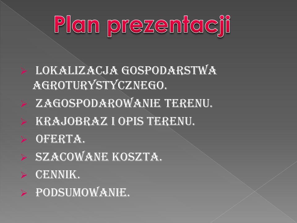 Plan prezentacji Lokalizacja Gospodarstwa Agroturystycznego.