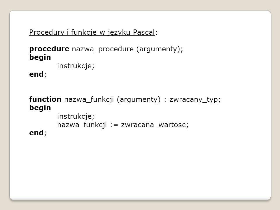 Procedury i funkcje w języku Pascal: