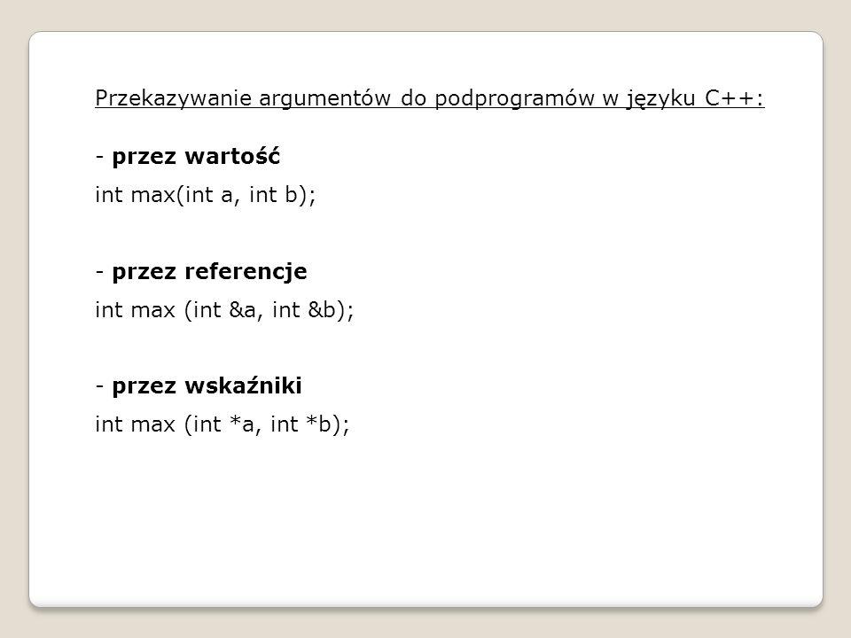 Przekazywanie argumentów do podprogramów w języku C++: