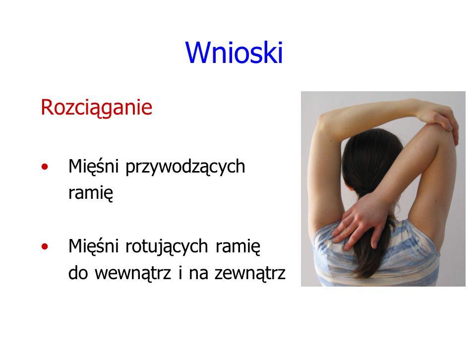 Wnioski Rozciąganie Mięśni przywodzących ramię Mięśni rotujących ramię