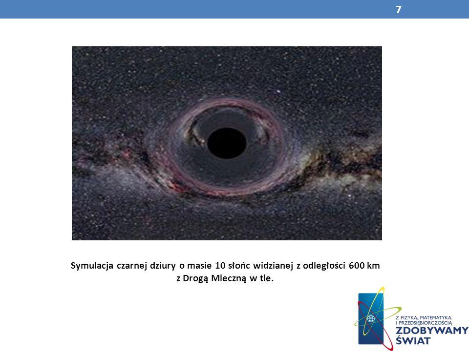 Symulacja czarnej dziury o masie 10 słońc widzianej z odległości 600 km z Drogą Mleczną w tle.